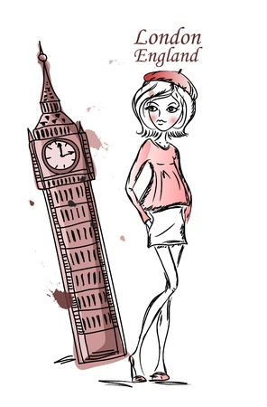 high fashion model: Fashion Girl dibujos animados viaja por el mundo Vectores