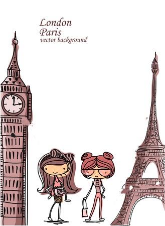 london big ben: Девушка моды мультфильма путешествует по миру Иллюстрация