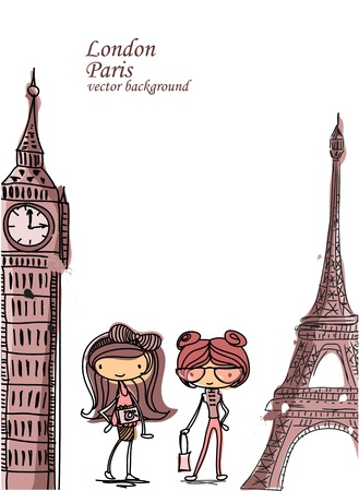 new england: Fashion Cartoon Girl travels the world