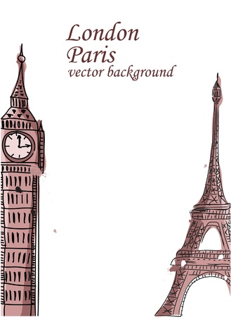 Travel, Paris, England, vector background  Vector