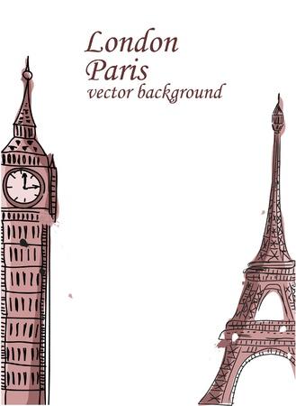 Travel, Paris, England, vector background Stock Vector - 12183375