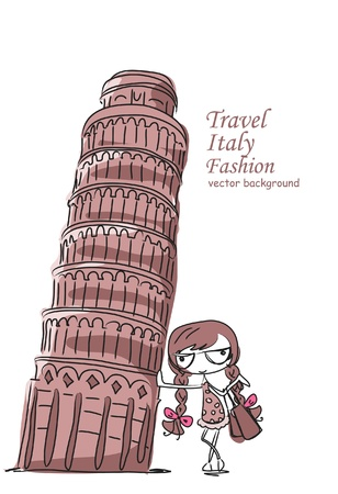 Travel background, the Leaning Tower and Stock Vector - 12183363