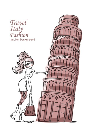 fashion bags: Fashion Cartoon Girl travels the world, vector background  Illustration