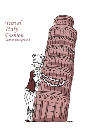 tower of pisa: Fashion Cartoon Girl travels the world, vector background  Illustration