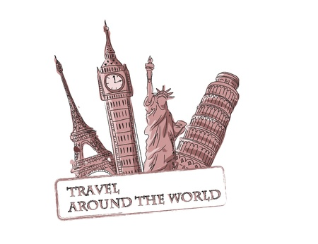 famous: Travel vector background