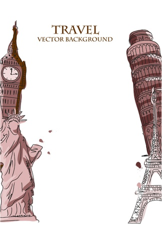 travel collage: Travel, Paris, England, vector background  Illustration