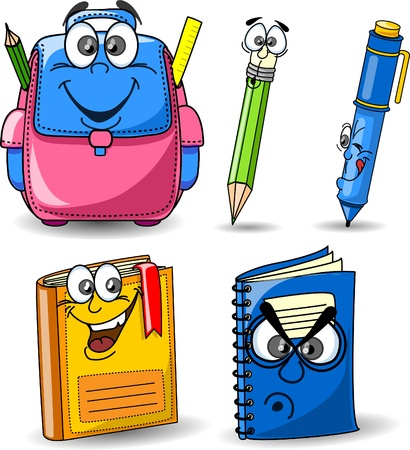 literature: Cartoon school bags, pencils, books, notebooks Illustration
