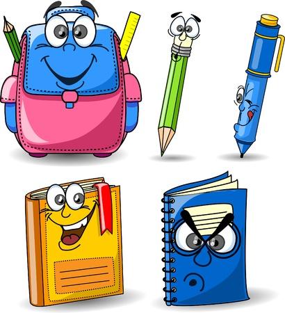 Cartoon schooltassen, potloden, boeken, schriften Vector Illustratie