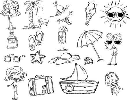 Relax on the beach, vector doodle  Vector