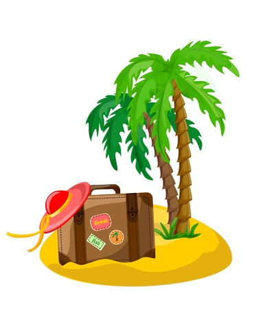 wave tourist: Travel background, palm and suitcase