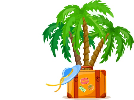 Travel background, palm and suitcase Stock Vector - 12480693