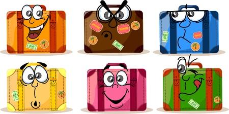 sentimientos y emociones: Antecedentes de viaje, maletas con las emociones Vectores
