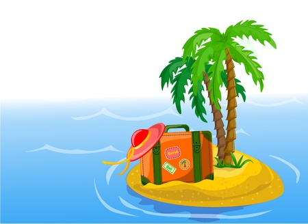 Travel background, palm and suitcase  Vector