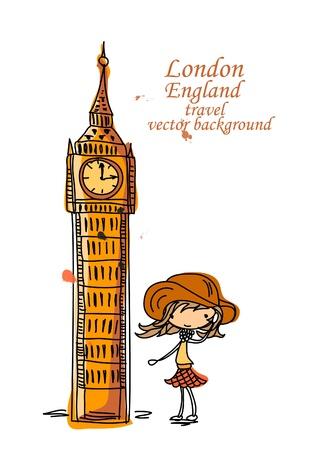 Fashion Cartoon Girl travels the world Stock Vector - 12480333