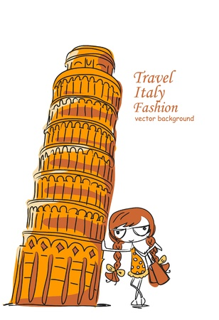 Travel background, the Leaning Tower and Stock Vector - 12480683