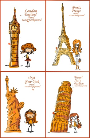big smile: Fashion Cartoon Girl travels the world