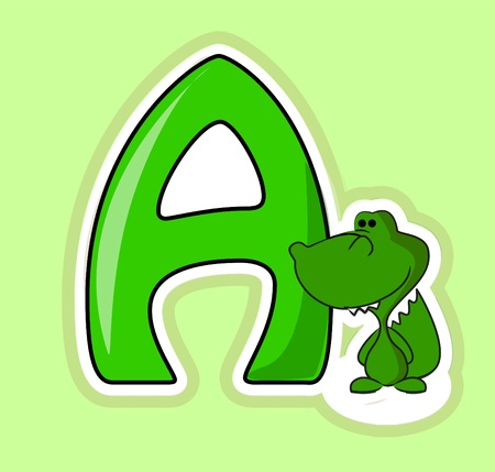 A letter alphabet with an alligator for teaching  Çizim