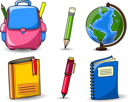 바인더: 만화 학교 가방, 연필, 책, 노트북, 일러스트