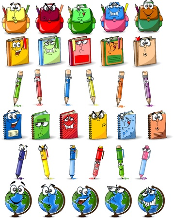 school bag: Cartoon school bags, pencils, books, notebooks Illustration