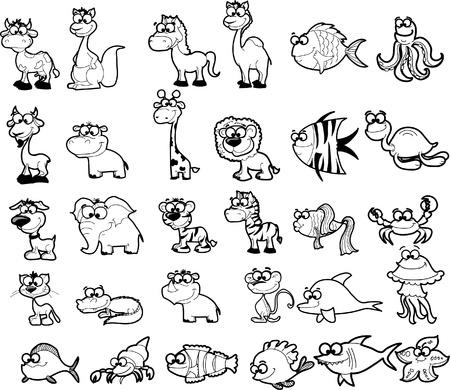 Gran conjunto de animales de dibujos animados en blanco y negro