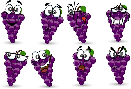 grapes in isolated: Cartoon grapes with emotions  Illustration