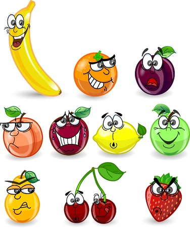 Cartoon orange, banana, apples, strawberry Stock Vector - 12480535