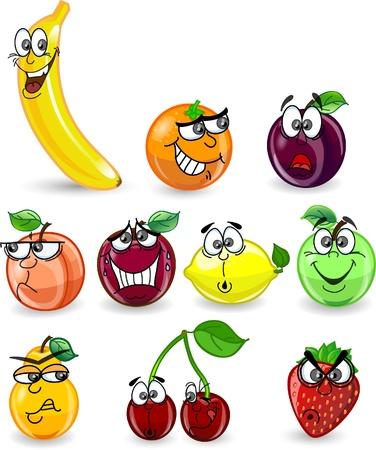 limon caricatura: Dibujos animados de color naranja, plátano, manzana, fresa