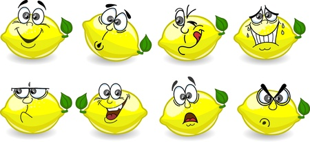 Cartoon lemons with emotions  Vector