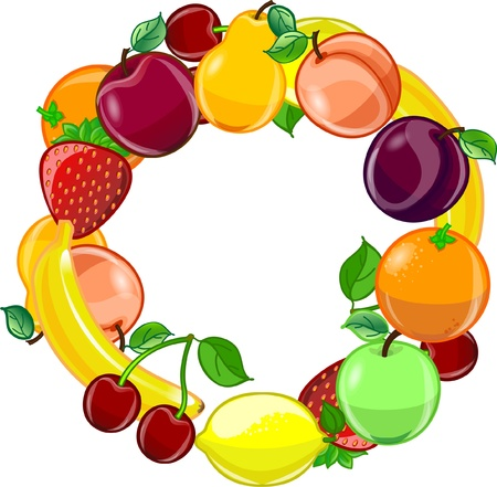 Fruit background, vector  Иллюстрация