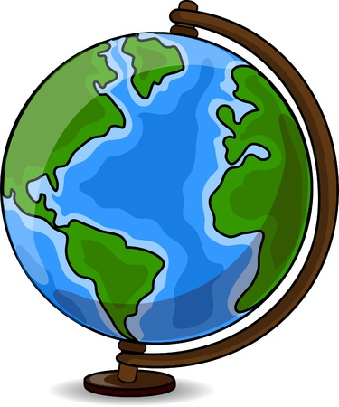 asia globe: Cartoon Desk Globe  Illustration
