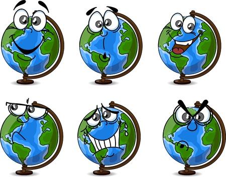 south pole: Cartoon Globe with emotions