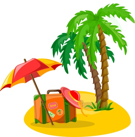 parasols: Travel background, palm, umbrella Illustration