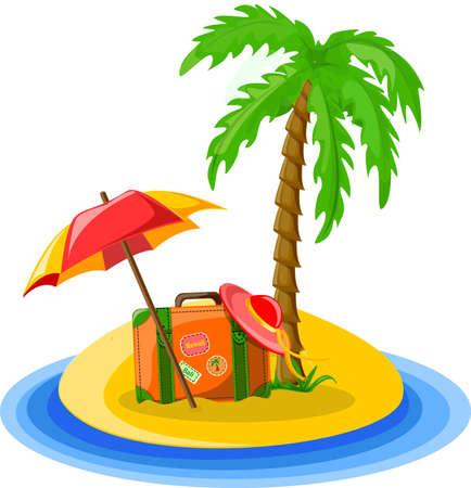 luggage tag: Travel background, palm, umbrella Illustration