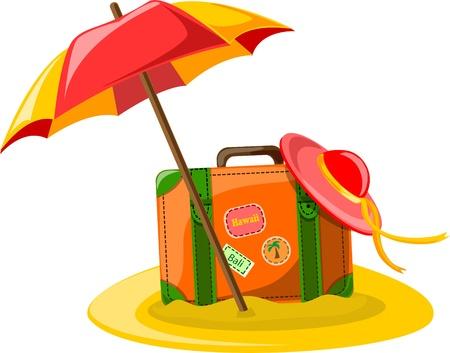 Travel background, umbrella, hat and suitcase