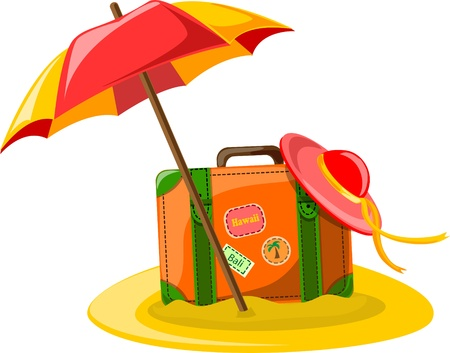 resorts: Travel background, umbrella, hat and suitcase
