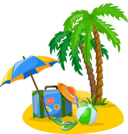 luggage tag: Travel background, palm, ball Illustration