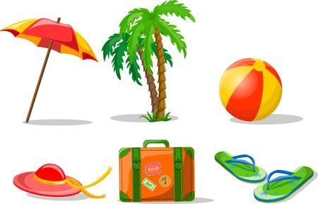 Travel background, palm, ball Vetores