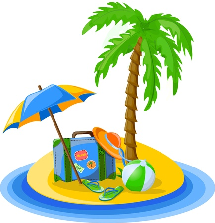 summer holiday: Travel background, palm, ball Illustration