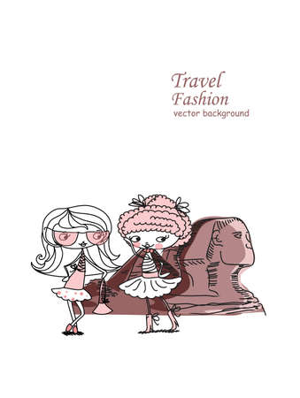 cheops: Fashion Cartoon Girl travels the world