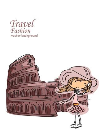 the colosseum: Fashion Cartoon Girl travels the world