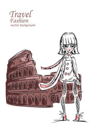 Fashion Cartoon Girl travels the world Stock Vector - 12480584