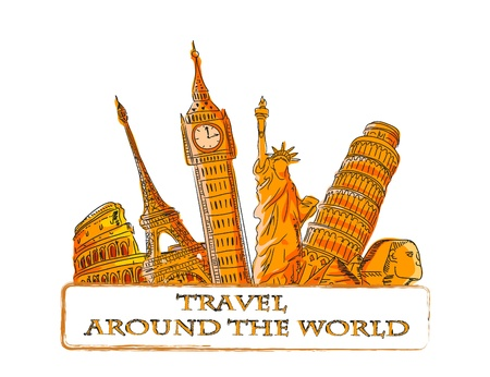 travel collage: Travel vector background