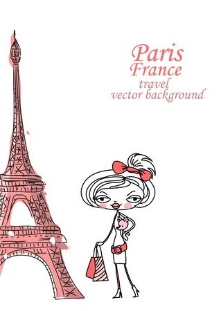 Fashion Cartoon Girl travels the world Stock Vector - 12480605