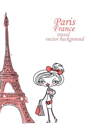 Fashion Cartoon Girl travels the world Stock Vector - 12480605