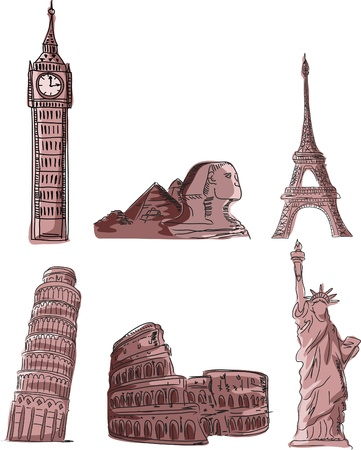 romantic getaway: Architectural monuments, Leaning Tower of Pisa Illustration