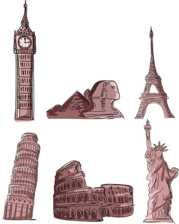 pisa: Architecturale monumenten, Scheve Toren van Pisa Stock Illustratie