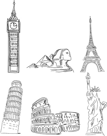 tour eiffel: Architectural monuments, Leaning Tower of Pisa Illustration