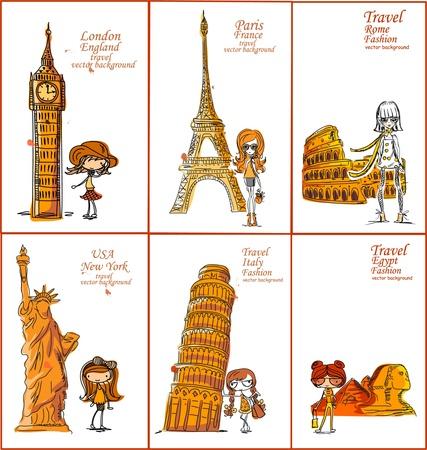 pisa: Fashion Cartoon Girl reist de hele wereld Stock Illustratie