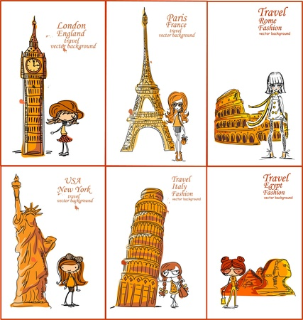 beautiful girl cartoon: Fashion Cartoon Girl travels the world