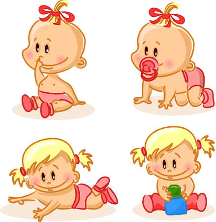 Vector illustration of baby girls  Vector